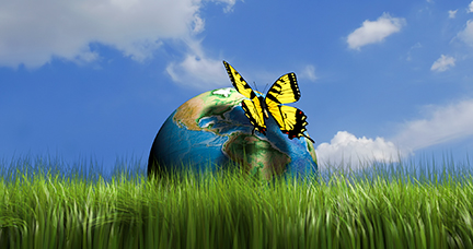 Earth globe in grass and an yellow butterfly - 3d render